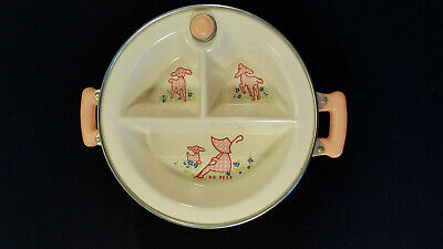 Ceramics & Porcelain Mary Had Little Lamb Baby Feeding Dish With Hot Water Warmer Vintage And Lid
