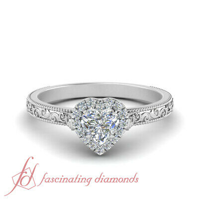 1/2 Carat Halo Heart Shaped Diamond Antique Milgrain Engagement Ring In Platinum