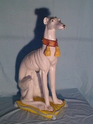 """Large Italian Faience Hand-Painted Greyhound Sculpture, 27"""" Tall, Rare"""