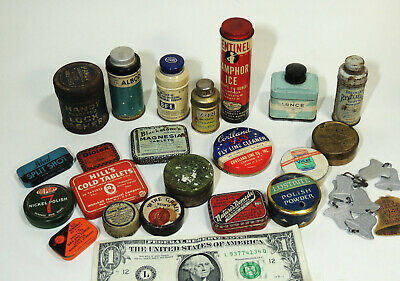 Large Lot Antique Vintage SMALL TINS Advertising Medicine Hardware Tooth Powder