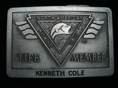 PL13139 VINTAGE 1980s **NORTH AMERICAN FISHING CLUB LIFE MEMBER** BELT BUCKLE