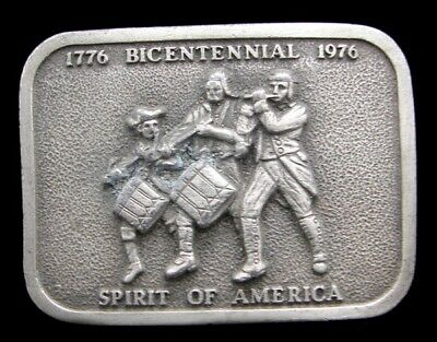 Jk14103 Great 1976 **Spirit Of '76 Art** America Bicentennial Pewter Belt Buckle