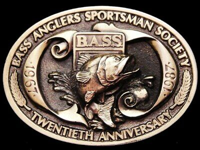 JE27170 VINTAGE 1987 **BASS ANGLERS SPORTSMAN SOCIETY** 20th YEAR BELT BUCKLE