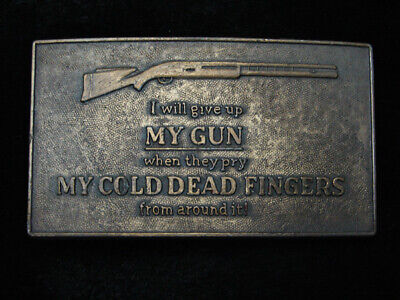 QL13114 VINTAGE 1970s *I WILL GIVE UP MY GUN WHEN* SECOND AMENDMENT BELT BUCKLE