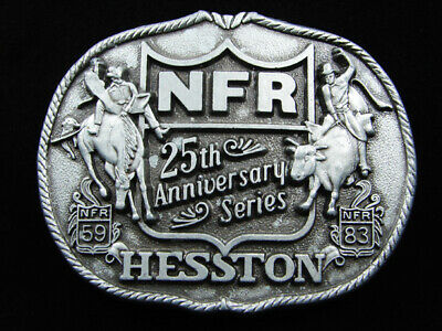 RF13155 USED VINTAGE 1983 **NFR** 25th ANNIVERSARY SERIES HESSTON RODEO BUCKLE