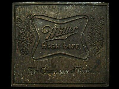 JF29122 GREAT 1970s ***MILLER HIGH LIFE*** THE CHAMPAGNE OF BEERS BELT BUCKLE