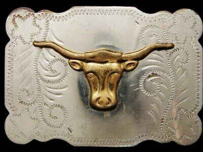 JE31105 VINTAGE 1970s **LONGHORN CATTLE HEAD** NICKEL SILVER WESTERN BELT BUCKLE