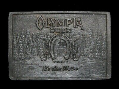 NE27102 VINTAGE 1970s **OLYMPIA BEER IT'S THE WATER** BOOZE PEWTER BELT BUCKLE
