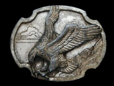 Ne09107 Vintage 1986 **American Bald Eagle** Nature Pewter Siskiyou Belt Buckle
