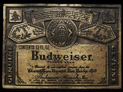JF25112 VINTAGE 1970s ***GENUINE BUDWEISER LAGER BEER*** BELT BUCKLE