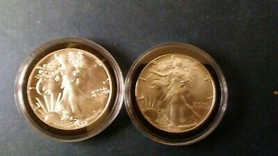 Lot of 2 American Silver Eagles 1 oz .999 Silver Dollars 1986 1987