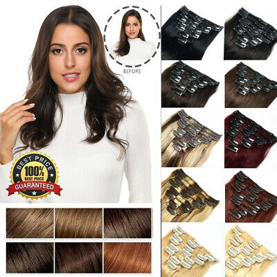 Real THICK 165g++ Double Weft Clip In Remy Human Hair Extensions Full Head 10PCS