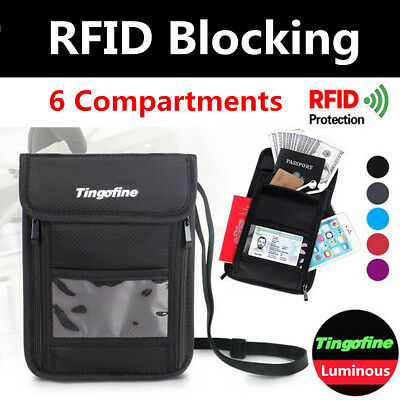 RFID Blocking Security Passport Card Holder Neck Stash Pouch Travel Wallet Bag