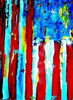 American Flag red original painting art By PB flower child art abstract 9x12
