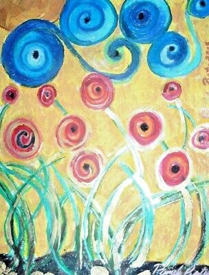 Original painting By PB poppies hippy. flower child art. poppies abstract  NR