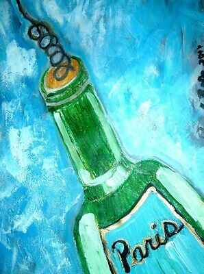 original painting art By Artist PB impressionist abstract wine bottle 12x9 NR