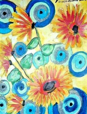original painting art By PB impressionist Folk Art daisies 9x12 floral NR