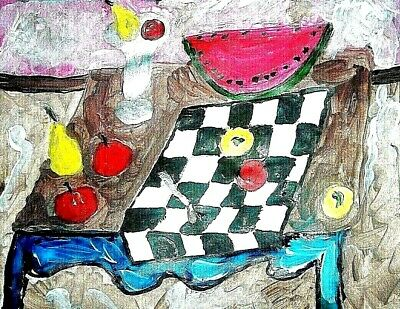 Table of Fruit original painting art By Artist PB Impressionist outsider 9x12