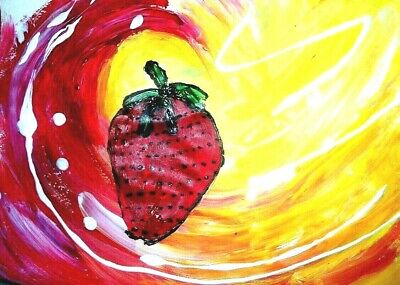 Red Strawberry original painting art By Artist PB oursider Fol Art 9x12 NR