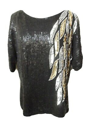 Vintage JOSEPH LE BON 100% Silk ALL Sequin Top M Black Silver Gold Leaf pattern
