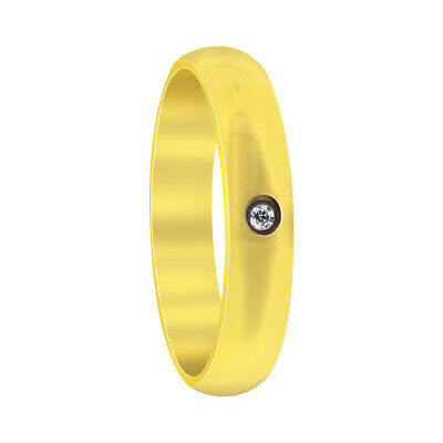 Gold IP Plated Stainless Steel Single CZ Comfort fit 4mm Wedding Band Size 5 - 8