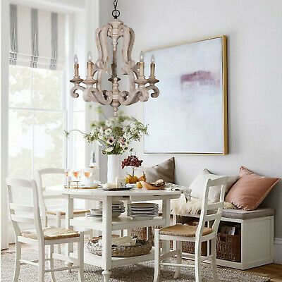 Antique Pendant Lamp Fixture Wooden Candle Style Chandelier Lighting Gray-White