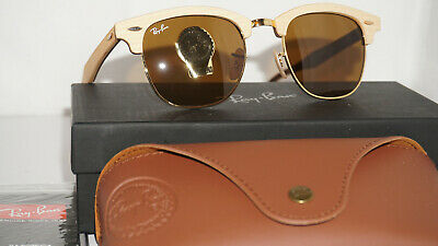 6232cf4ab6949 Ray Ban New Sunglasses Clubmaster Gold Maple Wood Brown RB3016M 1179 51 145
