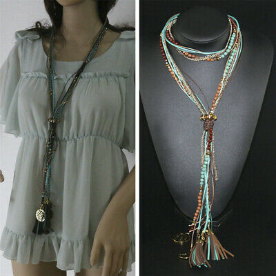 Women Bohemian Style Vintage Ethnic Long Tassel Leather Rope Collar Necklace jp