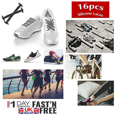 16 Pcs Lazy Shoe No Tie Shoelaces Easy Elastic Silicone Flat Lace Strings Adults