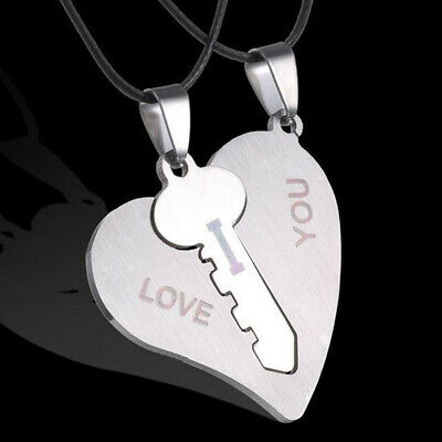 Couple Matched Necklace Heart-shaped Key Long Pendant Chain Casual Jewelry LG