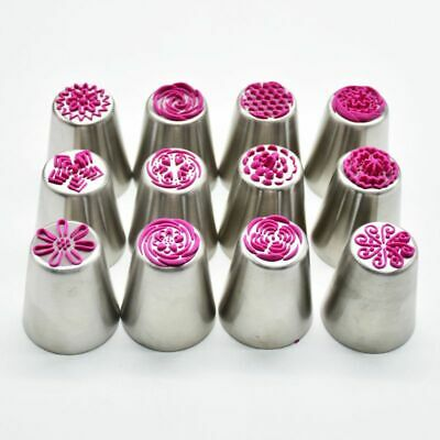 12pcs Icing Piping Nozzles Excellent Russian Tulip Cake Decor Tips Baking Tools