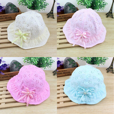 UK Cute Newborn Baby Girl Hat Kids Flower Princess Outdoor Summer Bucket Sun Hat