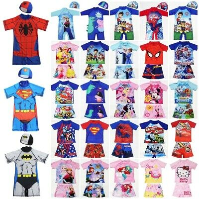 Kids Boys Girls Character UV Sun Safe Swimsuit Swimwear Surf Suit Costume 2-11Y