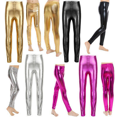 Girls Kids Metallic Dance Plain Stretch Leggings Shiny Ballet Jazz Dancing Pants