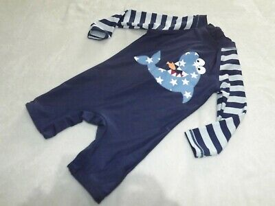 Baby Boys Navy Blue Shark Theme Upf 50+ Sun Protection Suit ~ Age 12 - 18 Months