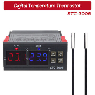 STC-3008 Digital Temperature Thermostat Controller -55°C~120°C Heating Cooling