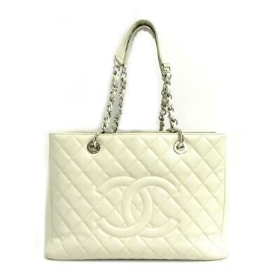 a0ecd6db94d28c CHANEL Chain Shoulder GST Grand Shopping Tote bag Caviar skin leather Ivory  Used