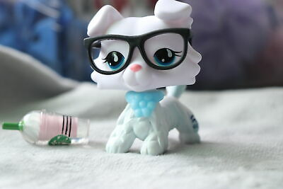 Littlest pet shop Custom Made OOAK LPS New Collie White Blue Eyes With Glasses