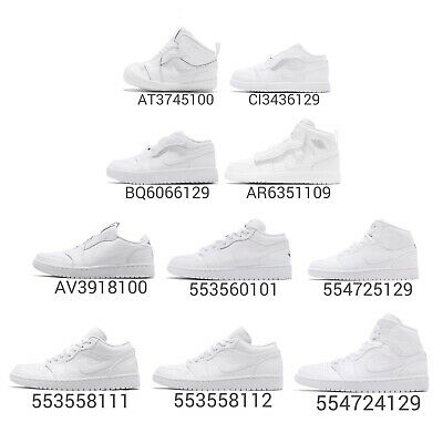 online store 61eb7 fa53b Nike Air Jordan 1 Low Mid Trible White AJ1 I Men Women Kids Baby TD Shoes