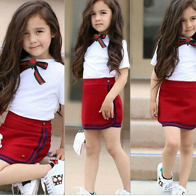UK Toddler Kid Baby Girls Bow Flower Tie Tops T-shirt Skirts Dress Outfits ghtre