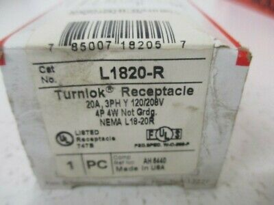 Pass & Seymour L1820-R Turnlok Receptacle 20A * New In Box *