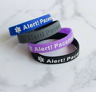 Alert PACEMAKER Fitted Wristband Medical Alert Silicone Wristband Bracelet UK