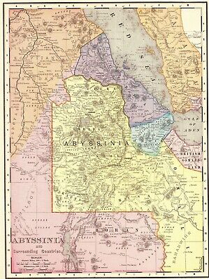 1900 Antique Map of ABYSSINIA Vintage Map of Ethiopia Africa Map 6541