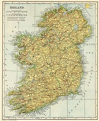 1921 Antique IRELAND Map Original Vintage Map of Ireland Gallery Wall Art #6544