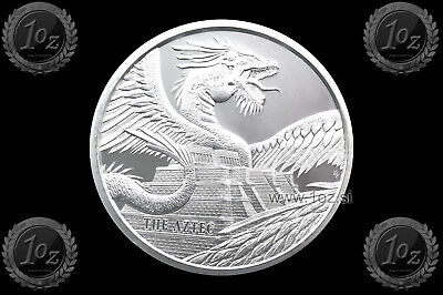 MEXICO 2018 ( AZTEC - World of DRAGONS ) SILVER 1oz Round ( Ag 999/1000 ) UNC