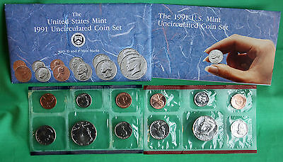 1991 Annual US Mint P and D Uncirculated 10 Coin Set Complete BU