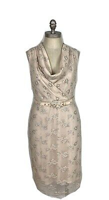 a828f7436b4f Anthropologie Eva Franco Overlay Lace Floral Belted Size 6 Cowl Neck Career