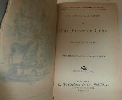 Book The posthumous papers of the Pickwick Club Charles Dickens 1878