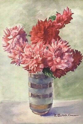 MARIE CHAUTARD-CARREAU -FINE EARLY 20thC FRENCH IMPRESSIONIST PINK & RED FLOWERS