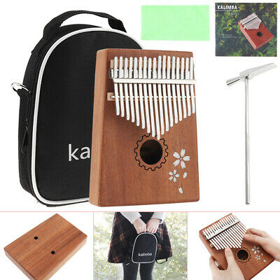 17 Key Kalimba Single Board Mahogany Thumb Piano Mbira Mini Keyboard with Bag